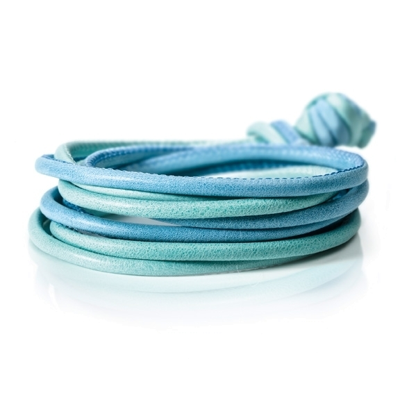Armband Kalbsleder hellblau + mintgrün 4-reihig, Ø 3.0 mm, 42.0 cm
