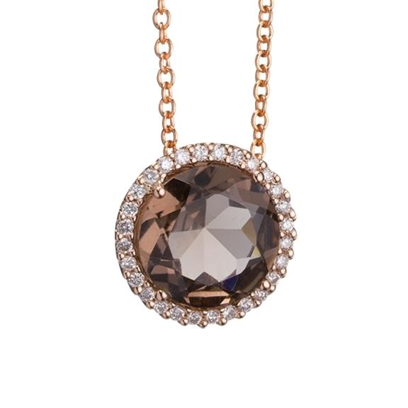 """Anhänger """"Espressivo"""" 750RG, Rauchquarz facettiert Ø 9.0 mm ca. 2.0ct, 28 Diamanten Brillant-Schliff 0.10ct TW/si"""