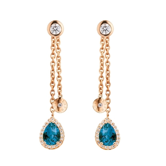 "Ohrstecker ""Espressivo Highlight"" 750RG, 2 Topas London blue Tropfen 7.0x5.0 ca. 1.8ct, 2 Diamanten Brillantschliff 0.20ct TW/vs1, 78 Diamanten Brillantschliff 0.20ct TW/vs1"