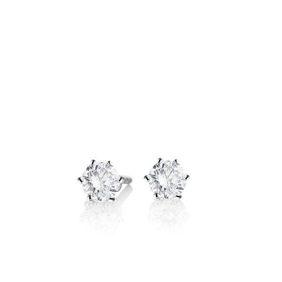 "Ohrstecker ""Diamante in Amore"" 750WG 6-er Krappe, 2 Diamanten Brillant-Schliff 0.40ct TW/vs1"