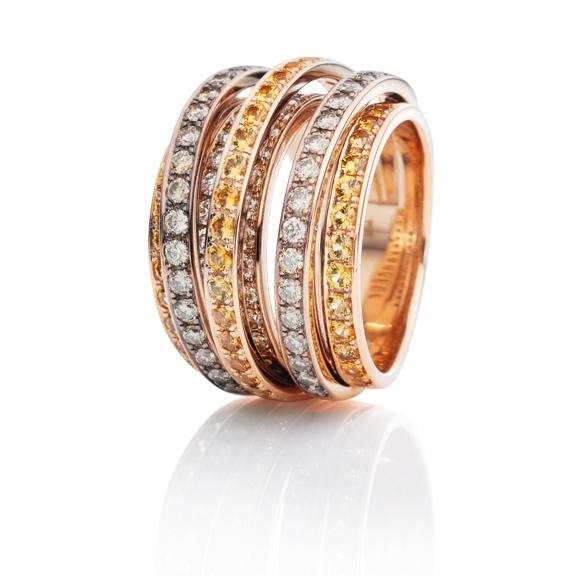 "Ring ""La Donna"" 750RG, Saphir gelb ca. 1.73ct, 22 Diamanten Brillant-Schliff 0.55ct TW/si1, 48 Diamanten Brillant-Schliff natural light brown 1.2ct"