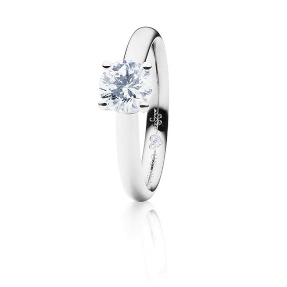 "Ring ""Diamante in Amore"" 750WG 4-er Krappe, 1 Diamant Brillant-Schliff 0.75ct TW/vs1 GIA Zertifikat, 1 Diamant Brillant-Schliff 0.005ct TW/vs1"
