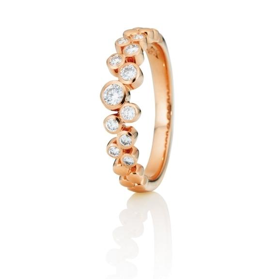 """Ring """"Sérail"""" 750RG, 11 Diamanten Brillant-Schliff 0.30ct TW/vs"""