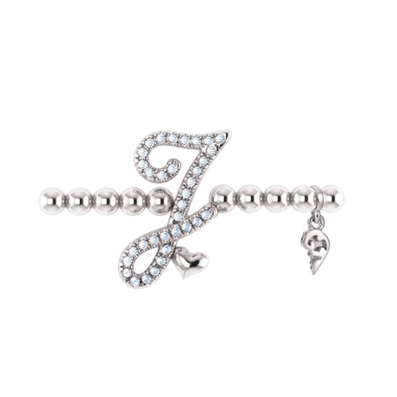 "Armband ""Poesia"" 750WG, Buchstabe ""J"", 34 Diamanten Brillant-Schliff 0.13ct TW/vs1, Innenumfang Ø 17.0 cm"