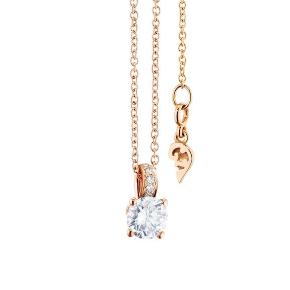 "Collier ""Diamante in Amore"" 750RG 4-er Krappe, Brillantschlaufe, 1 Diamant Brillant-Schliff 0.40ct TW/vs1, 5 Diamanten Brillant-Schliff 0.02ct TW/vs1, Länge 45.0 cm, Zwischenöse bei 42.0 cm"