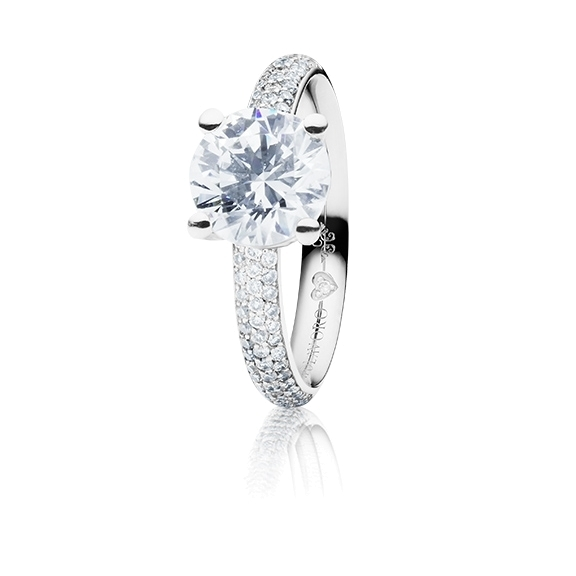 "Ring ""Diamante in Amore"" 750WG 4-er Krappe-Pavé, 1 Diamant Brillant-Schliff 1.50ct TW/vs1, GIA Zertifikat, 62 Diamanten Brillant-Schliff 0.60ct TW/vs1, 1 Diamant Brillant-Schliff 0.005ct TW/vs1"