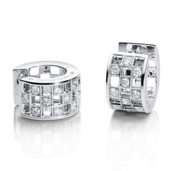 "Ohrcreolen ""Piazza"" 750WG, 20 Diamanten Brillant-Schliff 0.49ct TW/si"