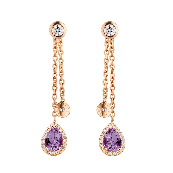 "Ohrstecker ""Espressivo Highlight Luxus"" 750RG, 2 Amethyst Tropfen 7.0x5.0 ca. 1.0ct, 2 Diamanten Brillantschliff 0.20ct TW/vs1, 78 Diamanten Brillantschliff 0.20ct TW/vs1"