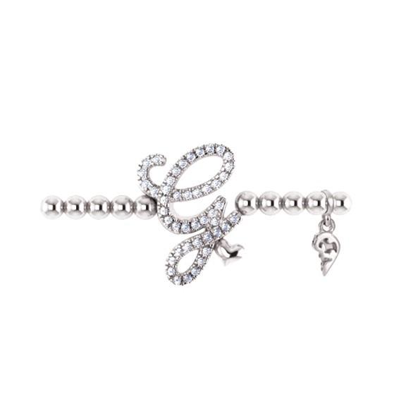 "Armband ""Poesia"" 750WG,Buchstabe ""G"", 45 Diamanten Brillant-Schliff 0.17ct TW/vs1, Innenumfang 17.0 cm"
