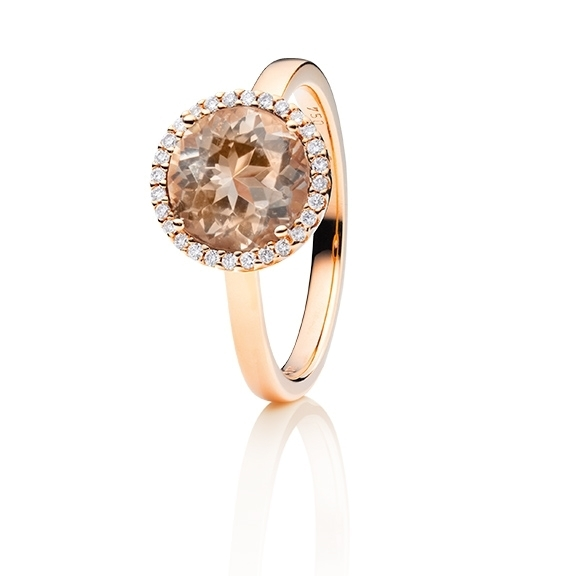 "Ring ""Espressivo"" 750RG, Zimt Beryll facettiert Ø 9.0 mm ca. 2.50ct, 28 Diamanten Brillant-Schliff 0.10ct TW/si1"