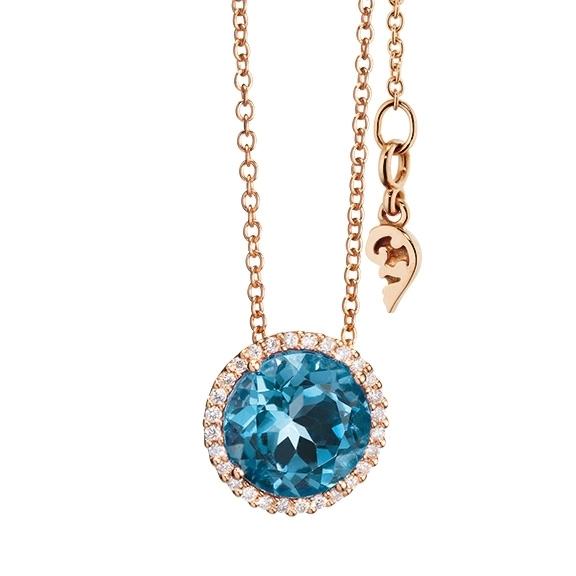 "Anhänger ""Espressivo"" 750RG, Topas London blue facettiert, 28 Diamanten Brillant-Schliff 0.10ct TW/si"