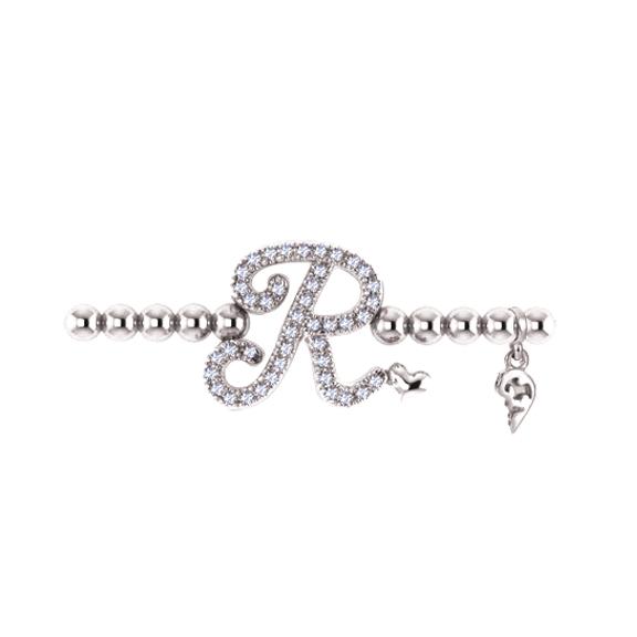 "Armband ""Poesia"" 750WG, Buchstabe ""R"", 42 Diamanten Brillant-Schliff 0.16ct TW/vs1, Innenumfang 17.0 cm"