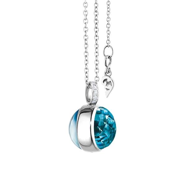 "Anhänger ""Velluto"" 750WG, Topas sky blue Cab. Ø 14.0 mm ca. 13.0ct,Topas London blue Ø 14.0 mm Cab.facettiert ca. 12.5ct ,Clipschlaufe 8 Diamanten Brillant-Schliff 0.03ct TW/vs1"