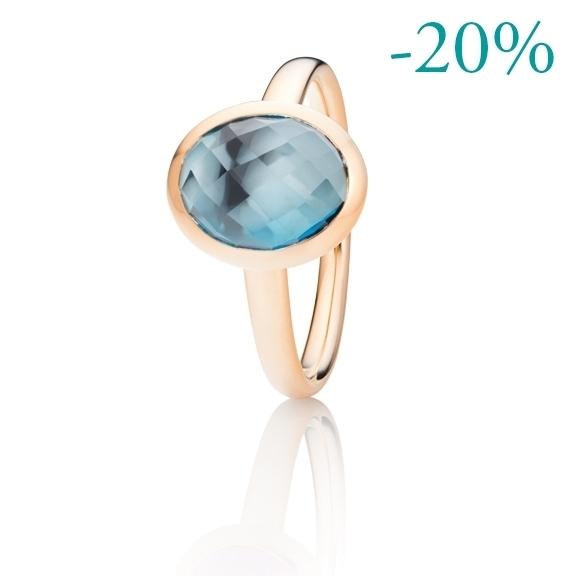 "Ring ""Velluto"" 750RG, Topas London blue facettiert 10.0 x 8.0 mm ca. 3.00ct"
