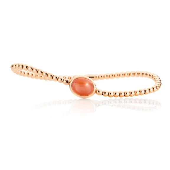 "Armband ""Velluto"" 750RG, Mondstein orange Cabochon 10.0 x 8.0 mm ca. 2.6ct, Innenumfang 17.0 cm"