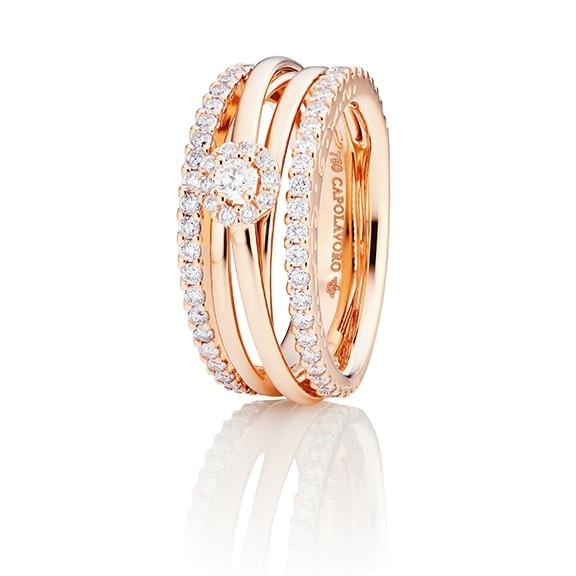 """Ring """"Magnifico"""" 750RG, 1 Diamant Brillant-Schliff 0.10ct TW/si, 68 Diamanten Brillant-Schliff 0.91ct TW/si"""