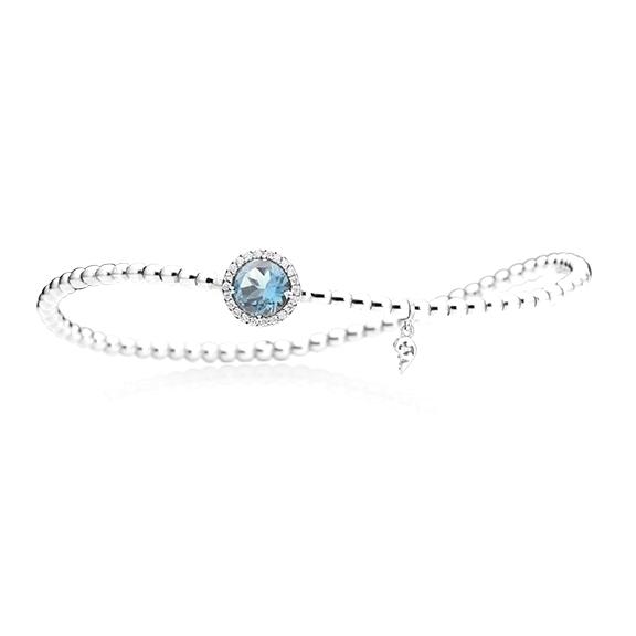 "Armband ""Espressivo"" 750WG, Topas sky blue facettiert Ø 6.0 mm ca. 0.90ct, 22 Diamanten Brillant-Schliff 0.06ct TW/si1, Innenumfang 17.0 cm"