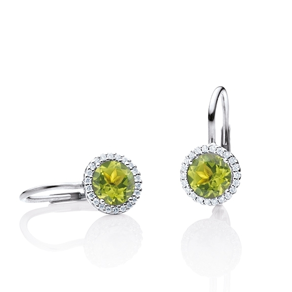 "Ohrhänger ""Espressivo"" 750WG, Peridot facettiert Ø 6.0 mm, 44 Diamanten Brillant-Schliff 0.12ct TW/si"