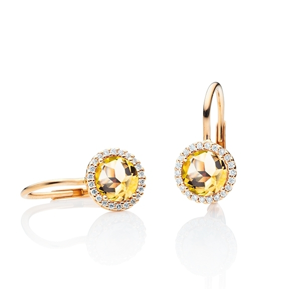 "Ohrhänger ""Espressivo"" 750RG, Citrin medium facettiert Ø 6.0 mm, ca. 0.80ct 44 Diamanten Brillant-Schliff 0.12ct TW/si"