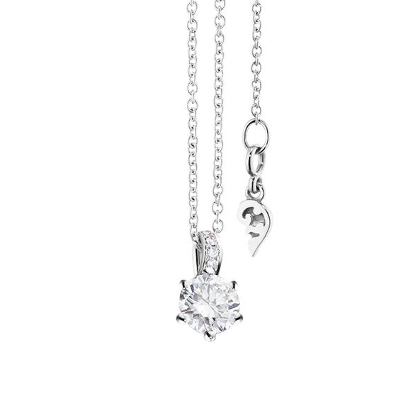 "Collier ""Diamante in Amore"" 750WG 6-er Krappe, Brillantschlaufe, 1 Diamant Brillant-Schliff 0.33ct TW/vs1, 5 Diamanten Brillant-Schliff 0.02ct TW/vs1, Länge 45.0 cm, Zwischenöse bei 42.0 cm"