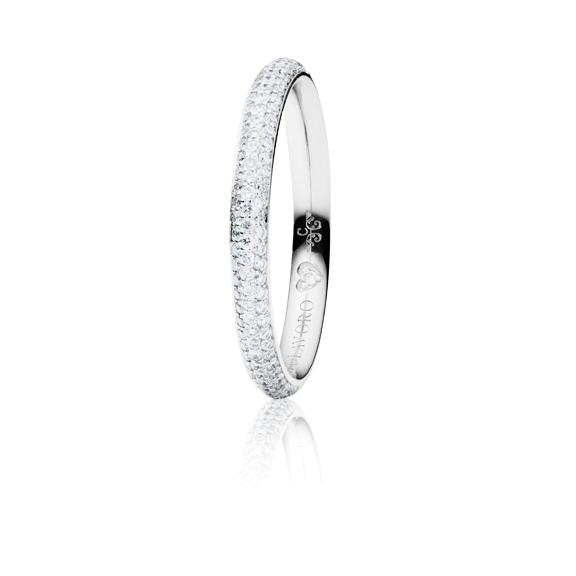 "Ring ""Diamante in Amore"" 750WG Pavé, 94 Diamanten Brillant-Schliff 0.35ct TW/vs1, 1 Diamant Brillant-Schliff 0.005ct TW/vs1"