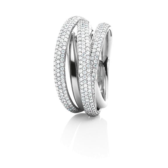 "Ring ""Cielo"" 750WG, 325 Diamanten Brillant-Schliff 1.30ct TW/si"
