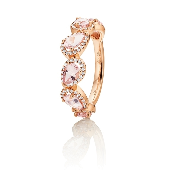"18k Ring ""Jennifer x Espressivo"" Roségold, 6 Morganit facettiert 6x4 mm ca. 2,10ct, 102 Diamanten Brillant-Schliff 0.21ct TW/si1"