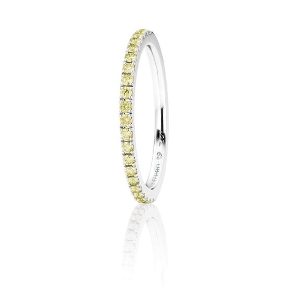 "Memoirering ""Diamante in Amore"" 750WG, 21 Diamanten Brillant-Schliff 0.27ct canary behandelt, 1 Diamant Brillant-Schliff 0.005ct TW/vs1"
