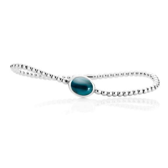 "Armband ""Velluto"" 750WG, Topas London blue Cabochon 10.0 x 8.0 mm ca. 3.5ct, Innenumfang 17.0 cm"