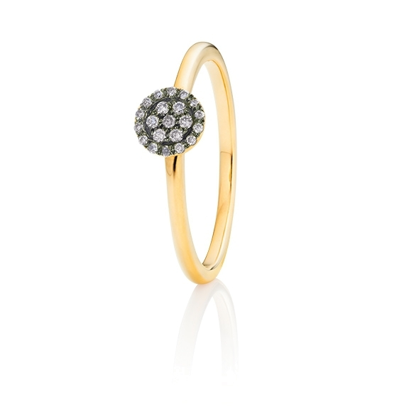 "Ring ""Dolcini"" 750GG, 21 Diamanten Brillant-Schliff 0.10ct grau"