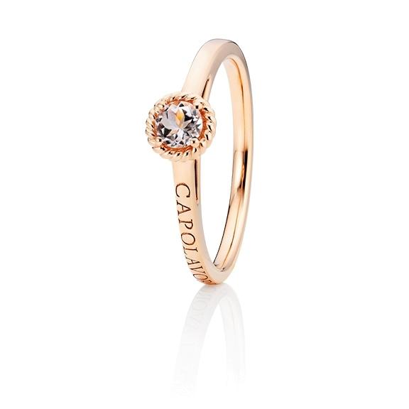 """Ring """"Amore Mio"""" 750RG, 1 Morganit facettiert Ø 4mm ca. 0.24ct, 1 Diamant Brillant-Schliff 0.005ct TW/vs1"""
