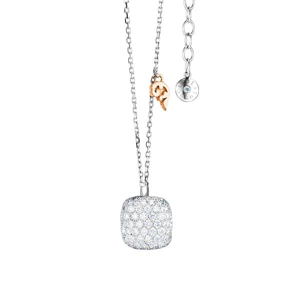 """Collier """"Happy Holi"""" 750WG, 102 Diamanten Brillant-Schliff 0.58ct TW/vs1, Länge 42cm + 3cm Verlängerung, 1 Diamant Brillant-Schliff 0.01ct TW/vs1"""