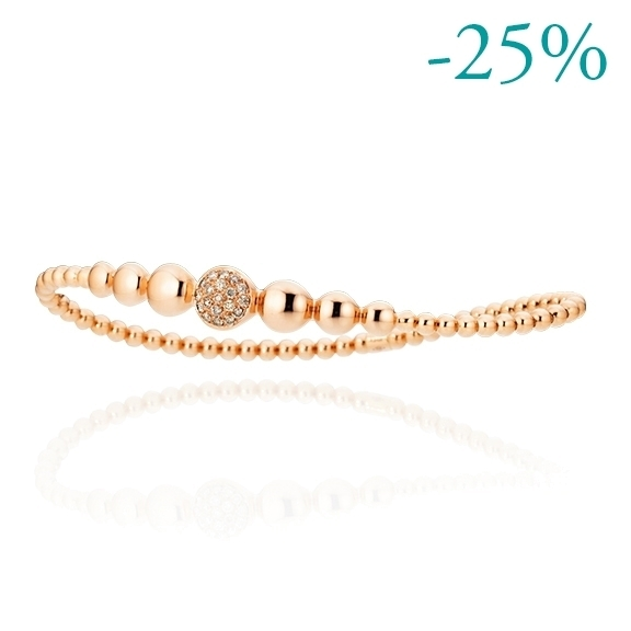 "Armband ""Dolcini"" 750RG, 19 Diamanten Brillant-Schliff 0.24ct light brown, Innenumfang 17.0 cm"