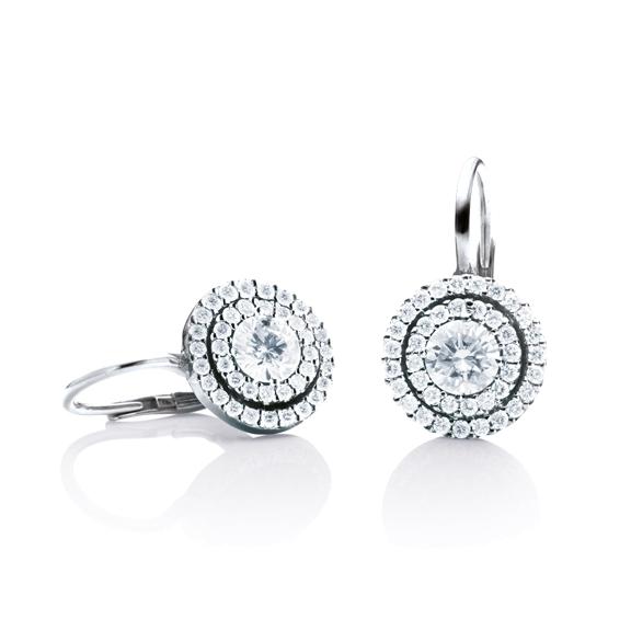 "Ohrhänger ""Brillantissimo"" 750WG, 2 Diamanten Brillant-Schliff 0.25ct TW/si, 78 Diamanten Brillant-Schliff 0.32ct TW/si"