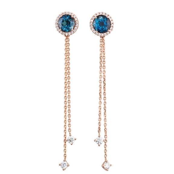 "Ohrstecker ""Espressivo"" 750RG, Topas London blue Ø 6.0 mm ca. 2.00ct, 48 Diamanten Brillant-Schliff 0.48ct TW/si"