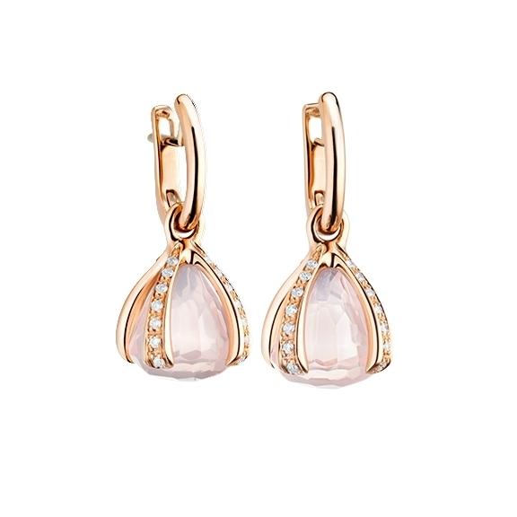 """Ohrcreole """"Capriccio"""" 750RG, Rosenquarz ca. 11.00ct, 28 Diamanten Brillant-Schliff 0.44ct TW/vs"""
