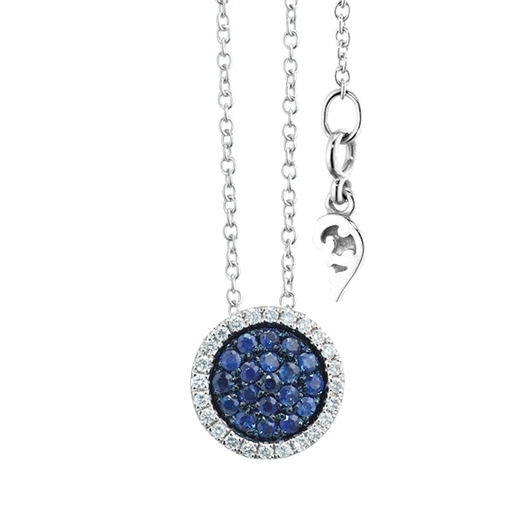 "Collier ""Dolcini"" 750WG, Saphir blau ca. 0.39ct, 24 Diamanten Brillant-Schliff 0.19ct TW/vs, Länge 45.0 cm"