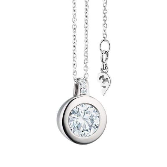 """Collier """"Diamante in Amore"""" 750WG Zargenfassung, Brillantschlaufe, 1 Diamant Brillant-Schliff 0.75ct TW/vs1 GIA Zertifikat, 5 Diamanten Brillant-Schliff 0.02ct TW/vs1, Länge 45.0 cm, Zwischenöse bei 42.0 cm"""