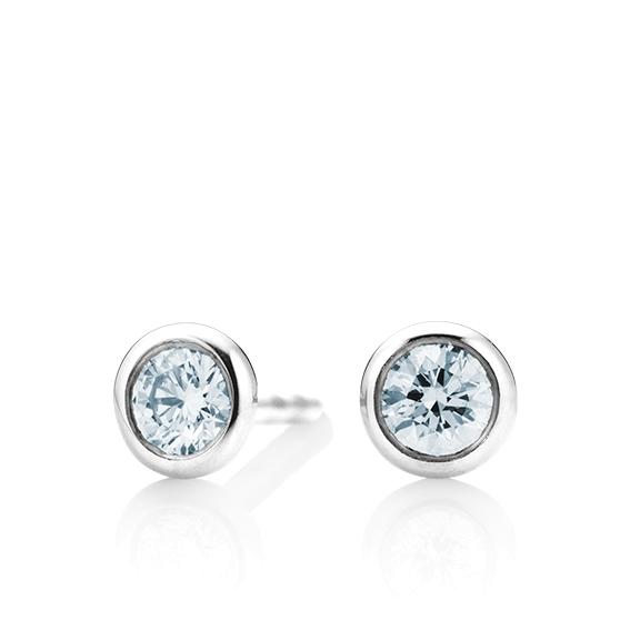 """Ohrstecker """"Classico"""" 750WG Zargenfassung, 2 Diamanten Brillant-Schliff 0.75ct TW/si GIA Zertifikat"""
