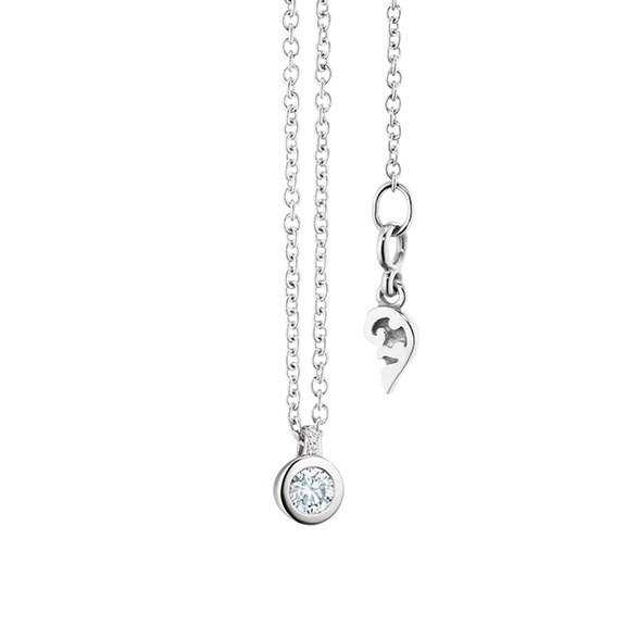 "Collier ""Diamante in Amore"" 750WG Zargenfassung, Brillantschlaufe, 1 Diamant Brillant-Schliff 0.10ct TW/vs1, 3 Diamanten Brillant-Schliff 0.005ct TW/vs1, Länge 45.0 cm, Zwischenöse bei 42.0 cm"