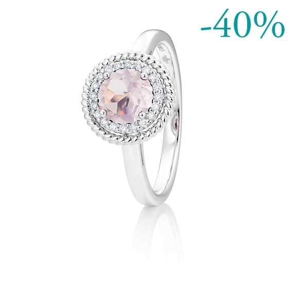 """Ring """"Amore mio"""" 750WG, Rosenquarz facettiert  Ø 6.0 mm ca. 0.75ct, 20 Diamanten Brillant-Schliff 0.08ct TW/si"""