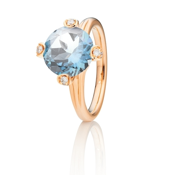 "Ring ""Capriccio"" 750RG, Topss sky blue Ø 10.0 mm ca. 4.90ct, 18 Diamanten Brillant-Schliff 0.17ct TW/vs"