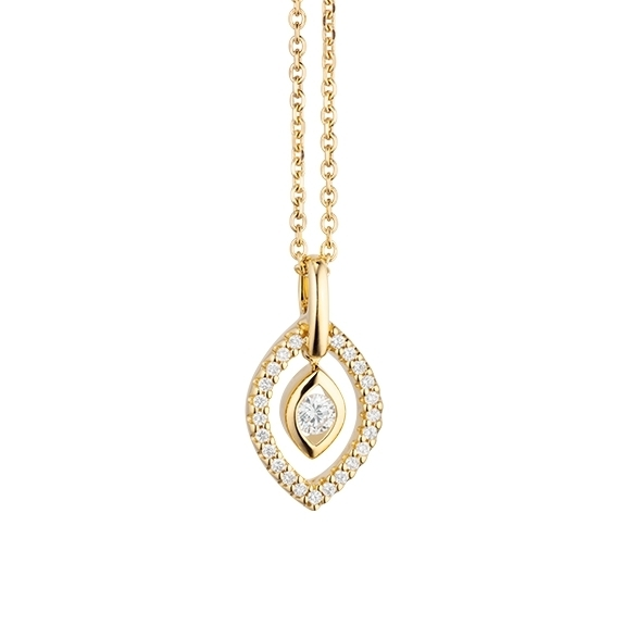"Collier ""Glam Motion"" 750GG, 1 Diamant Brillant-Schliff 0.075ct TW/si, 23 Diamanten Brillant-Schliff 0.075ct TW/si, Länge 45.0 cm"