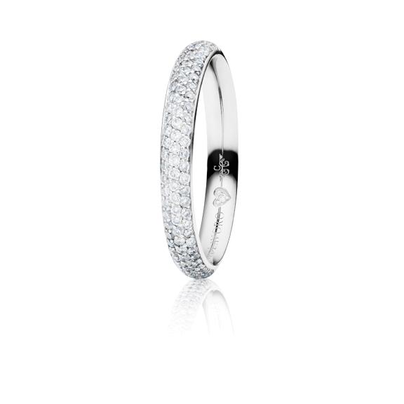 "Ring ""Diamante in Amore"" 750WG Pavé, 85 Diamanten Brillant-Schliff 0.40ct TW/vs1, 1 Diamant Brillant-Schliff 0.005ct TW/vs1"