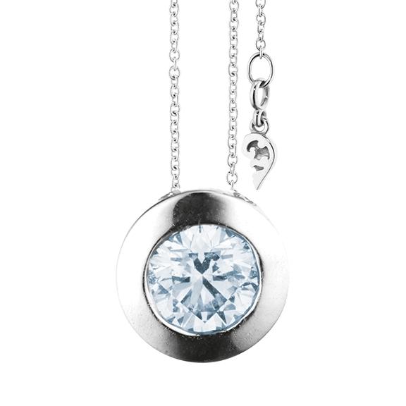"""Collier """"Diamante in Amore"""" 750WG Zargenfassung, 1 Diamant Brillant-Schliff 1.50ct TW/vs1 GIA Zertifikat, Länge 45.0 cm, Zwischenöse bei 42.0 cm"""