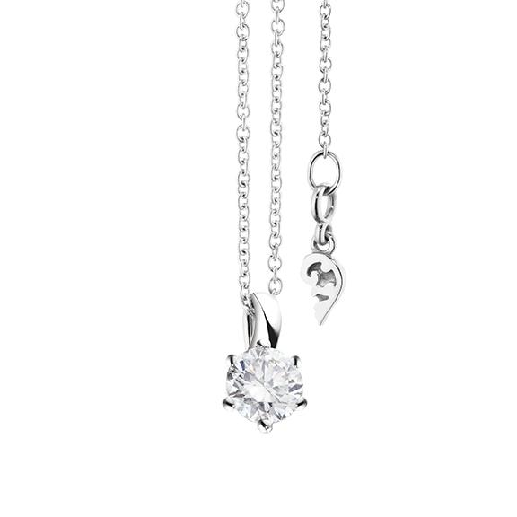 """Collier """"Diamante in Amore"""" 750WG 6-er Krappe, Schlaufe, 1 Diamant Brillant-Schliff 0.33ct TW/vs1, Länge 45.0 cm, Zwischenöse bei 42.0 cm"""