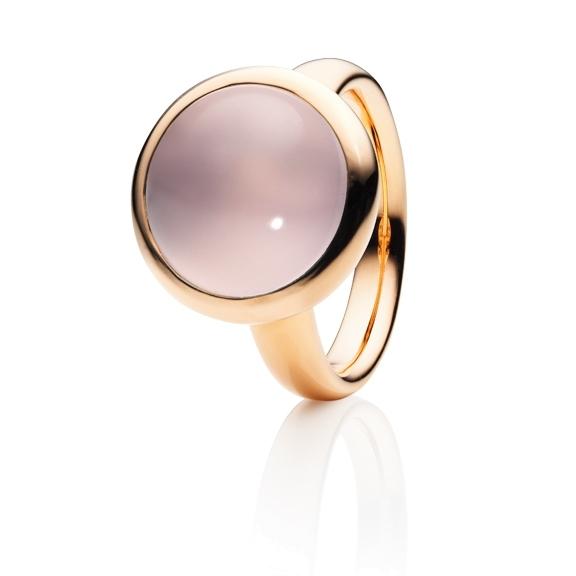 """Ring """"Velluto"""" 750RG, Rosenquarz klar Cabochon Ø 14.0 mm ca. 9.0ct"""