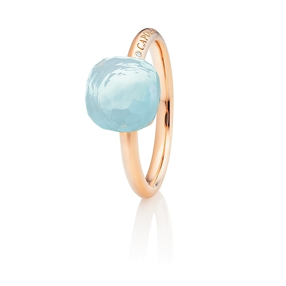 "Ring ""Happy Holi"" 750RG, Chalcedon aqua Cabochon  9.0 x 9.0 mm facettiert, ca. 3.90ct, 1 Diamant Brillant-Schiff 0.004ct TW/vs1"