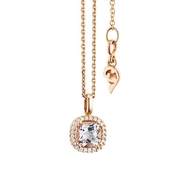 """Anhänger """"Espressivo"""" 750RG, Morganit antik 6.0 x 6.0 mm ca. 0.9ct, 24 Diamanten Brillant-Schliff 0.07ct TW/si"""