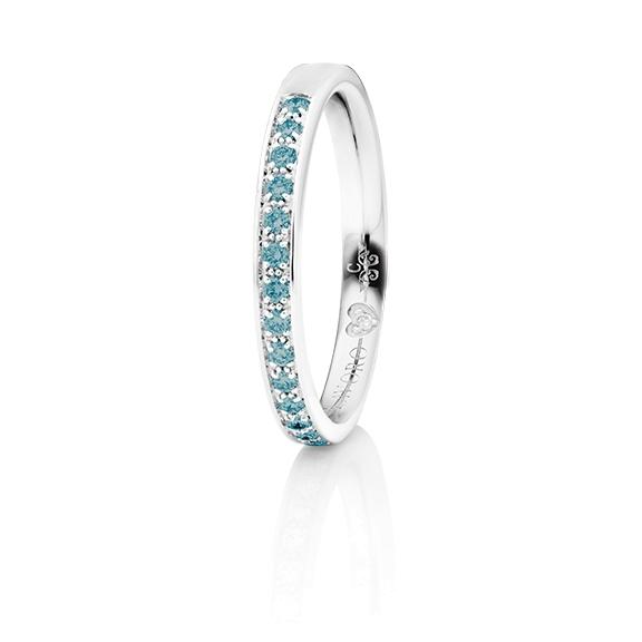 """Memoirering """"Diamante in Amore"""" 750WG Fadenfassung, 19 Diamanten Brillant-Schliff 0.25ct sky blue beh., 1 Diamant Brillant-Schliff 0.005ct TW/vs1"""